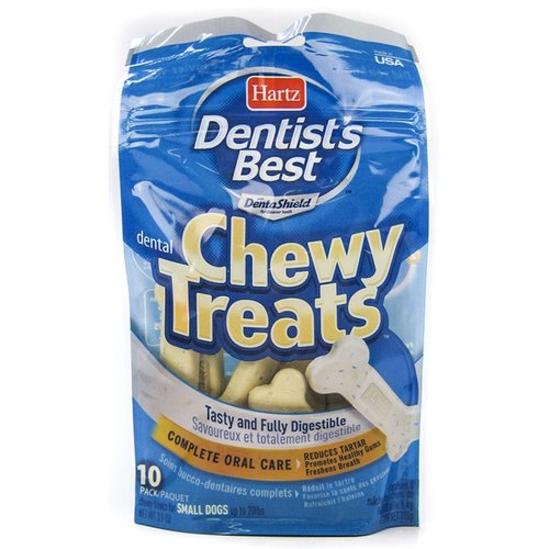 Hartz Dentist's Best Chewy Treats - Bone Shape Small - 10 Pack - (Dogs up to 20 lbs)