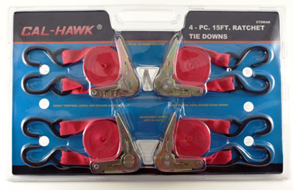"""Cal Hawk Tools 4-pc. 15' x 1"""" Ratchet Tie Down by Cal Hawk Tools"""