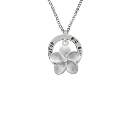 Large Plumeria Flower With Crystal Big Sister Affirmation Ring Necklace