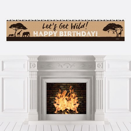 Wild Safari - African Jungle Adventure Birthday Party Decorations Party Banner - Safari Decorations