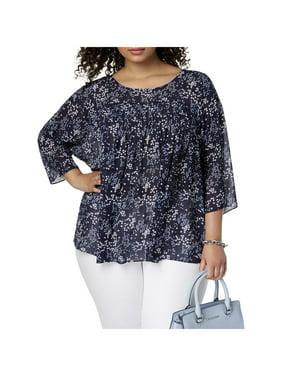 e4c7bd6502895 Product Image MICHAEL Michael Kors Womens Plus Floral Print 3 4 Sleeves  Blouse