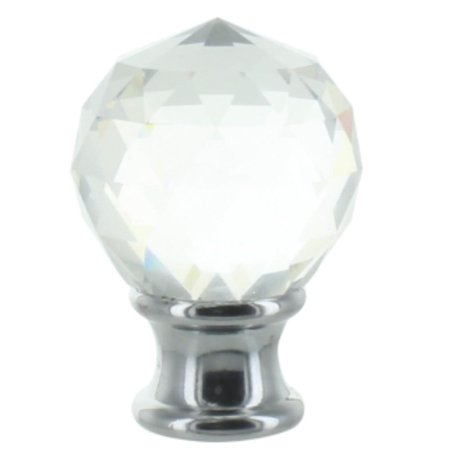 Clear Faceted Crystal Orb Finial with Chrome Base (Solid Crystal Finial)