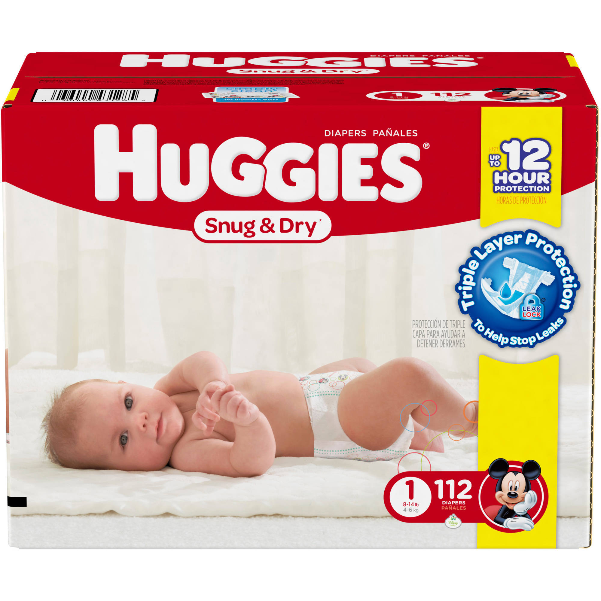HUGGIES Snug & Dry Diapers, Size 1 (Choose Diaper Count)