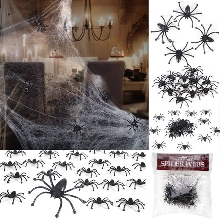 Halloween Decorations Stretchable Cobweb Halloween Party Ornament Spooky Spider Web with 24 Fake Spiders, Fit for Indoor and Outdoor - Halloween Decorations For Home Party