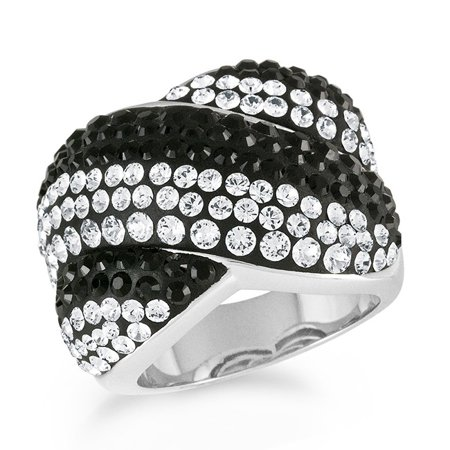 4972ee3e84480 Platinum-Plated Bronze Chunky Ring Made with Black & White Swarovski  Crystals