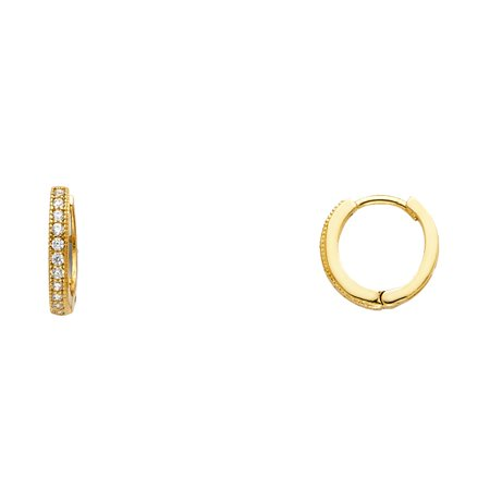 Solid 14k Yellow Gold Huggie Hoop Earrings CZ Small Huggies Round Pave Set Stylish Fancy Tiny 10 mm