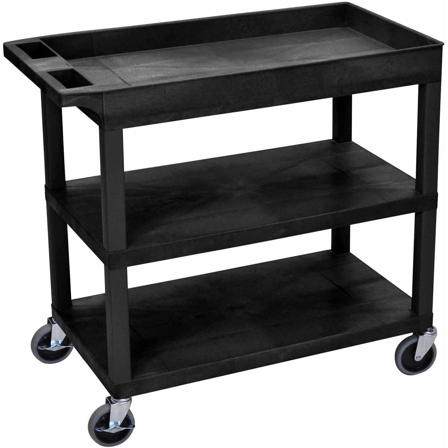 Luxor High Capacity Cart with 2 Flat and 1 Tub Shelf