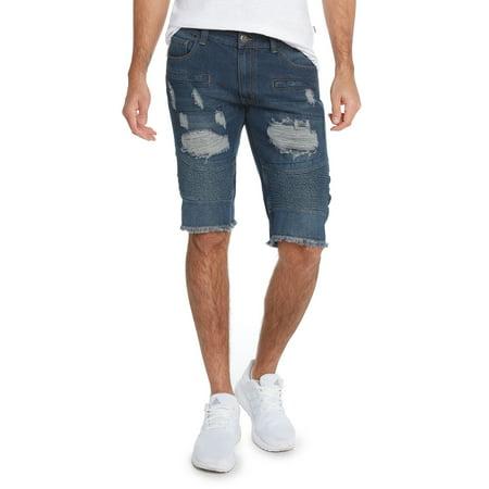 Mens 5 Pocket Distressed Denim Rd Shorts By 9 Crowns Black