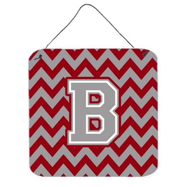 Letter B Chevron Crimson & Grey Wall or Door Hanging Prints - image 1 of 1