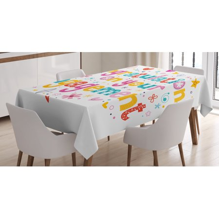 Engagement Party Decorations Tablecloth, Festive Congratulations Theme Hearts Spots Floral Detail Print, Rectangular Table Cover for Dining Room Kitchen, 60 X 84 Inches, Multicolor, by Ambesonne (Movie Themed Table Decorations)
