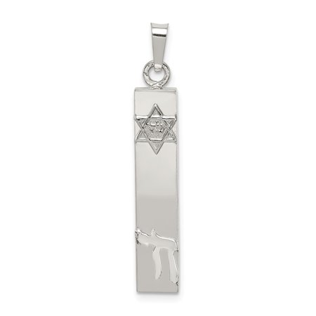 Mireval Sterling SIlver 3D Mezuzah with Star and Chai Pendant (approximately 27 x 7 mm) Sterling Silver Mezuzah Pendant