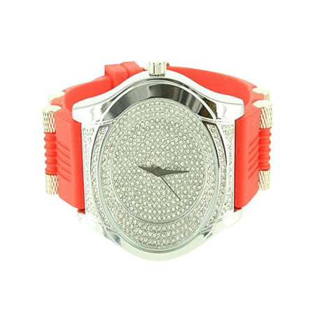 Techno Pave Joe Rodeo Red Rubber Band Strap Lab Created Cubic Zirconia Discount Mens Wristwatch for $<!---->