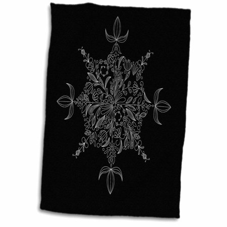 - 3dRose Pretty Eight Point Flower Patterned Snowflake In White On A Black Background - Towel, 15 by 22-inch