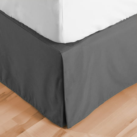 Bed Skirt Double Brushed Premium Microfiber, 15-Inch Tailored Drop Pleated Dust Ruffle, 1800 Ultra-Soft, Shrink and Fade Resistant (Queen, Gray) (Black Jersey Bedskirt)