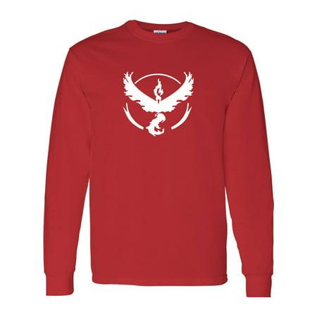 Pokemon Go Gym Team Valor Red Mens Long Sleeve T-Shirt Top - Custom Team Gear
