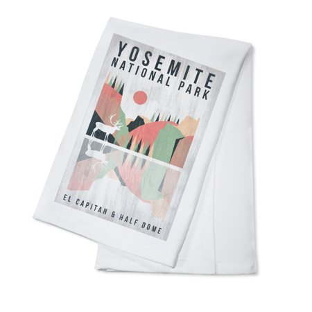 Yosemite National Park, California - El Capitan & Half Dome - Elk - Geometric Opacity - Lantern Press Artwork (100% Cotton Kitchen
