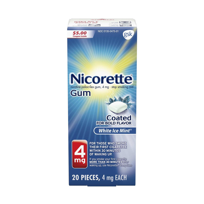 Nicorette Nicotine Gum, Stop Smoking Aid, 4 mg, White Ice Mint Flavor, 20 count