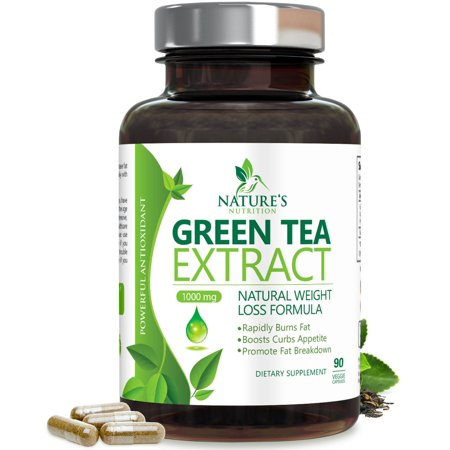 Nature's Nutrition Green Tea Extract Metabolism Booster  w/EGCG for Weight Loss  Vegetarian Capsules, 90