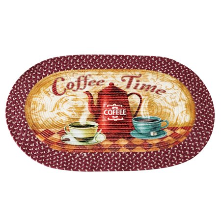 Old Rub (Old Fashioned Coffee Time Braided Accent Rug - Vintage Kitchen Decor for Coffee Lovers )