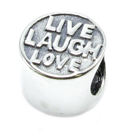 Queenberry Sterling Silver Live Love Laugh European Style Bead Charm Fits