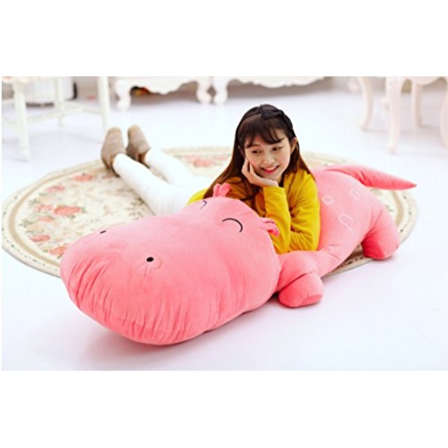 1pcs 120cm Big Plush Cute Pink Hippo Hippopotamus Behemoth River