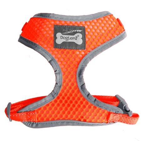 Comfort Control Dog Harness Adjustable Soft Mesh Puppy Harness Walk Collar Reflective Vest Orange M For Medium Dog