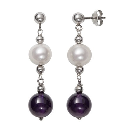 Amethyst Pearl Jewelry - 7-8mm Cultured Freshwater Pearl and 8mm Amethyst Sterling Silver Drop Earrings