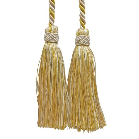 Collection White Gold Two Light - Double Tassel / Light Gold, Ivory / Tassel Tie with 4 inch Tassels, 26