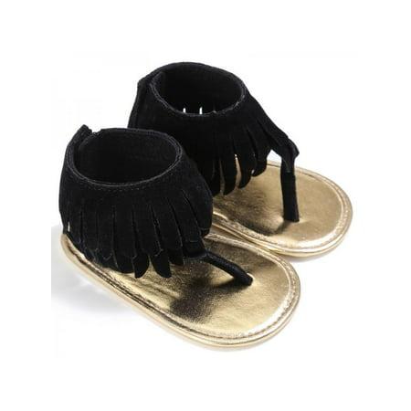 Roman Sandals (Ropalia Baby Girl Tassel Sandal Summer Anti-slip Shoes Kids Toddler Prewalker Beach Flip Flop Roman)