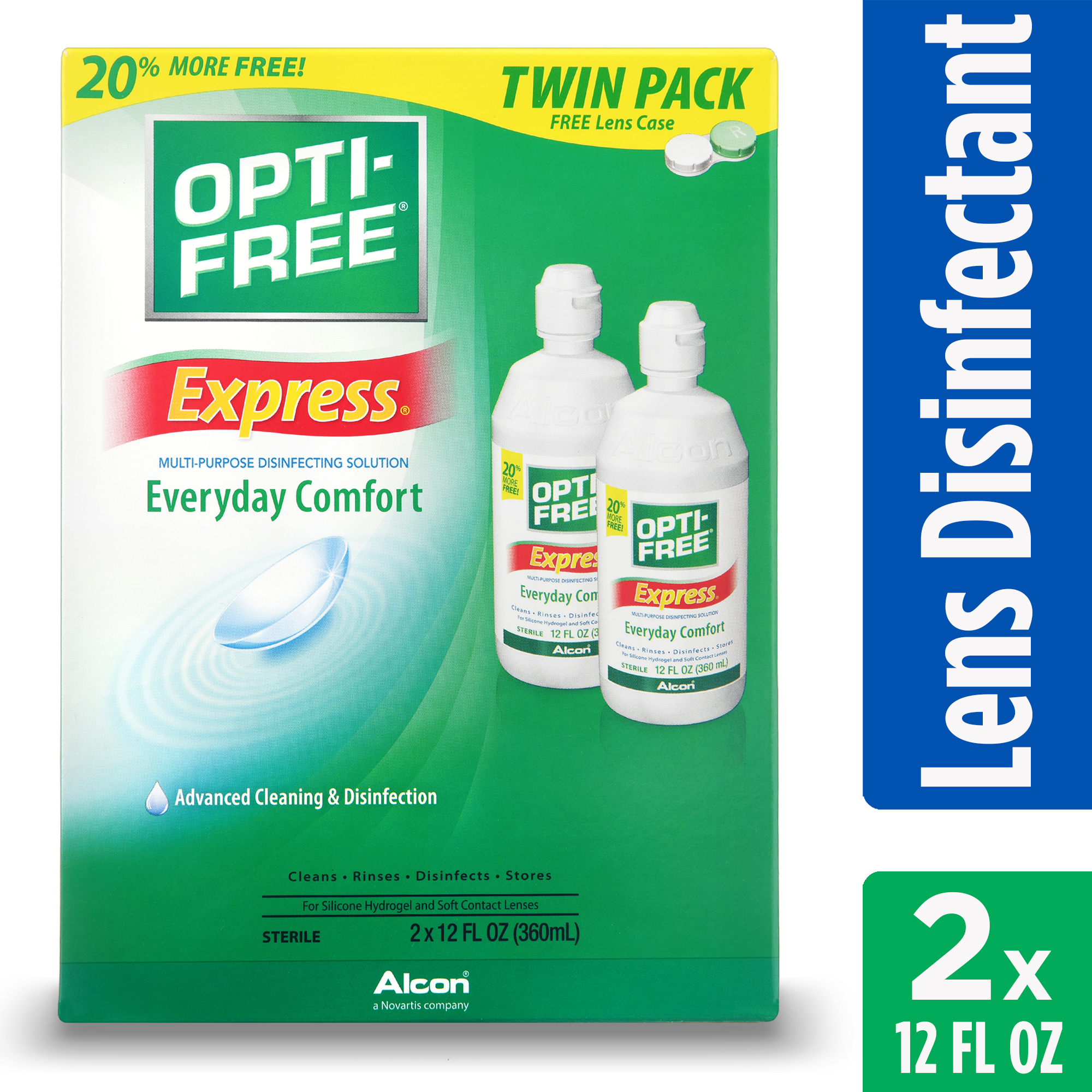Opti-Free Express Everyday Comfort Multi-Purpose Disinfecting Solution, 2 x 12 Fl Oz