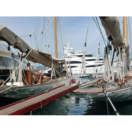 Canvas Print Sun Holiday Regatta Boats Sky St Tropez Sail Sea Stretched Canvas 10 x