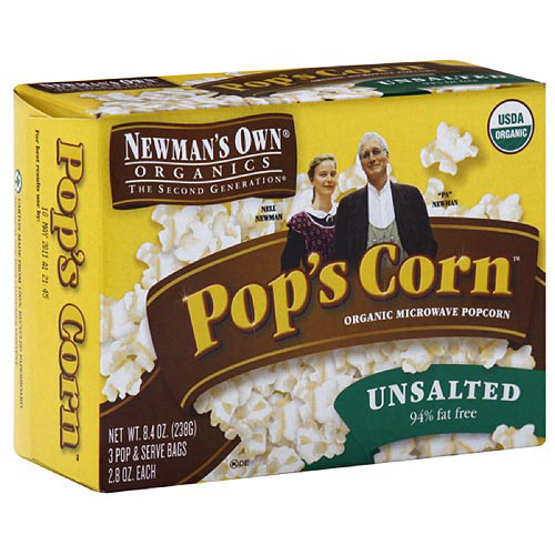 Newman's Own Organics The Second Generation Pop's Corn Microwave Popcorn, 8.4 oz (Pack of 12)