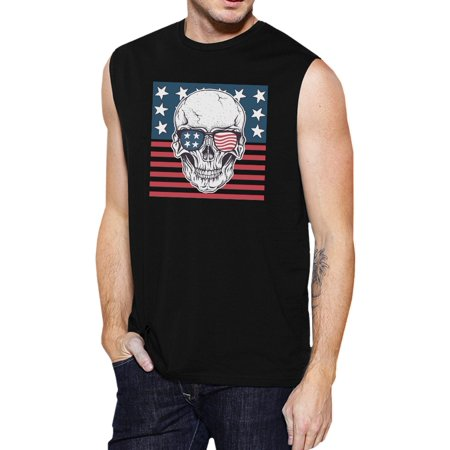 365 Printing Skull American Flag Mens Black Muscle Tee Crew Neck Line Cotton - America Muscle