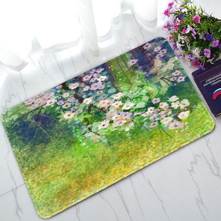 PHFZK Abstract Floral Design Doormat, Watercolor Painting Flowers and Soft Green Leaves Doormat Outdoors/Indoor Doormat Home Floor Mats Rugs Size 30x18 inches