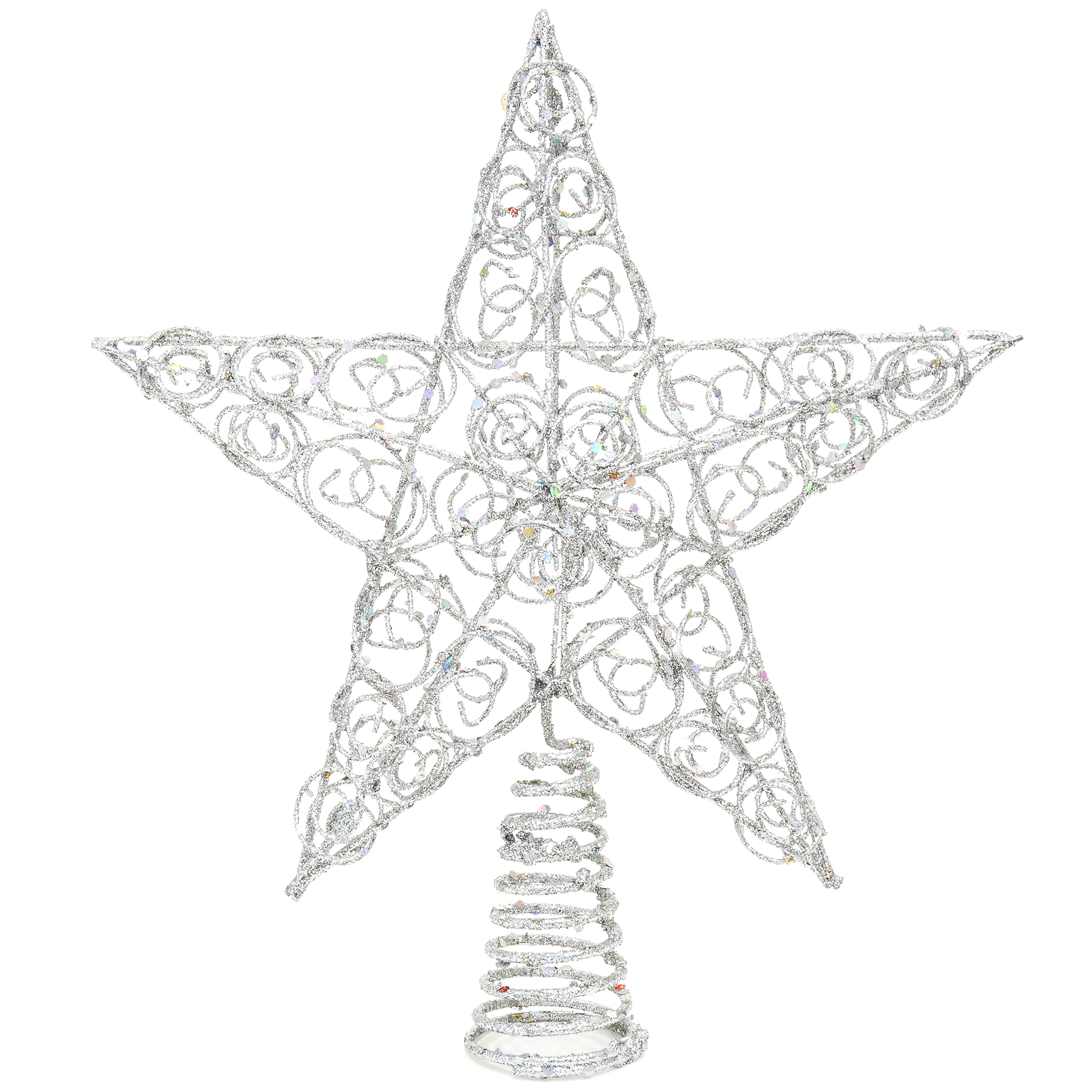 Best Choice Products 10in 5-Point Decorative Metal Wire Christmas Treetop Star Topper w/ Glitter Design - Silver