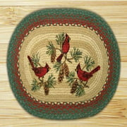 "Earth Rugs OP-025 Cardinals Design Braided Rug, 20 x 30"", Burgundy/Green"