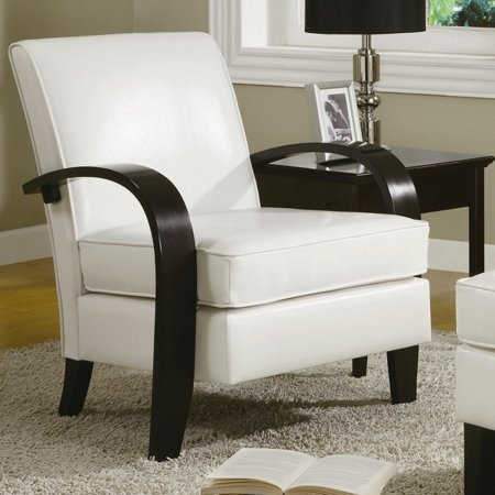 Roundhill Wonda Bonded Leather Accent Arm Chair with Ottoman, Multiple Colors (Ars Leather Chair)