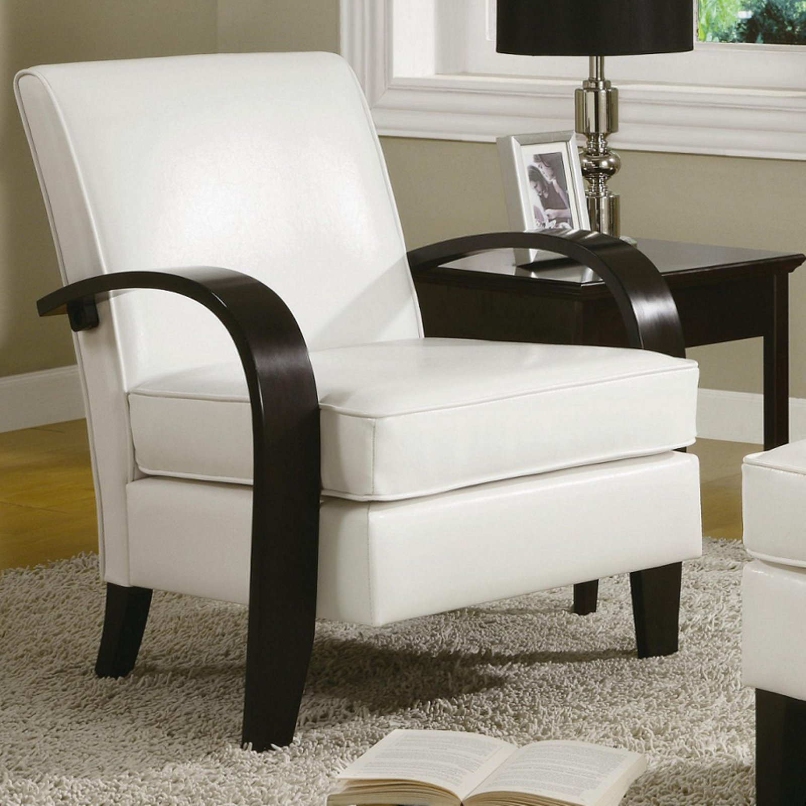 Roundhill Wonda Bonded Leather Accent Arm Chair with Ottoman, Multiple Colors Available