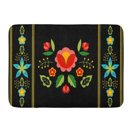 Impressionist Interior Mat (GODPOK Black Polish Folk Floral Ethnic Slavic Eastern European Flower for Bohemian Lumbar Boho Interior Gypsy Rug Doormat Bath Mat 23.6x15.7 inch )
