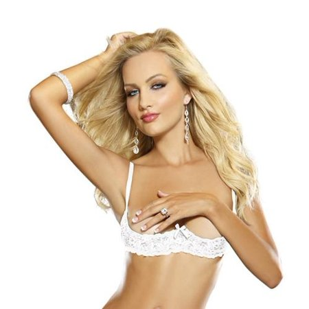 cf1b27c76343c5 Jrheller - Stretch Lace Open Cup Underwire Shelf Bra White 38 - Walmart.com