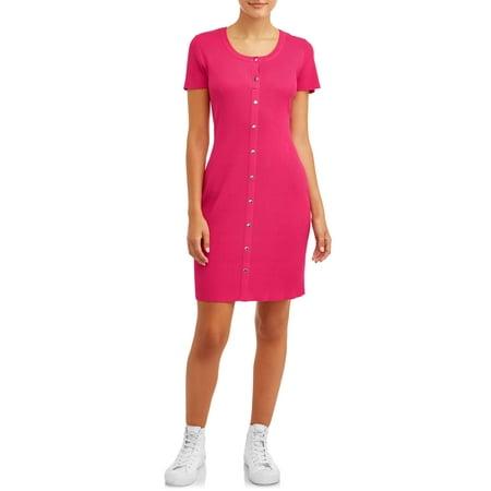 No Boundaries Juniors' Short Sleeve Scoop Neck Snap Front Dress Fuschia Juniors Dress