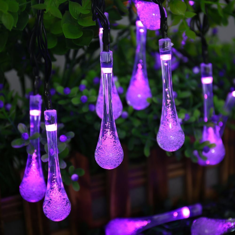 Amazing Qedertek Garden Lights Solar Lights 30 LED Crystal Water Drop Fairy String  Christmas Lights (Purple