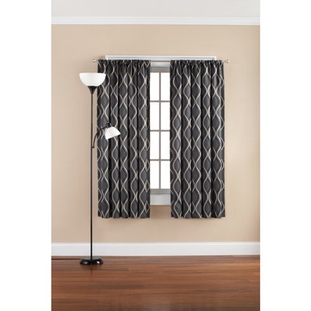 Mainstays Wave Room Darkening Polyester Curtain Panel Gray