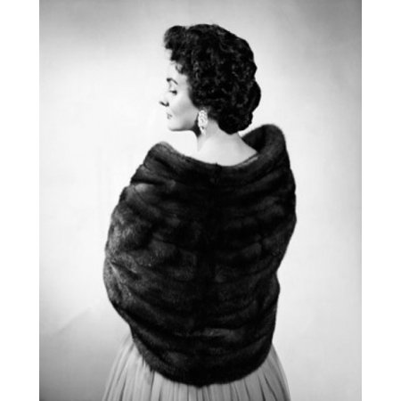 Rear view of a young woman wearing a fur shawl Canvas Art - (24 x 36)