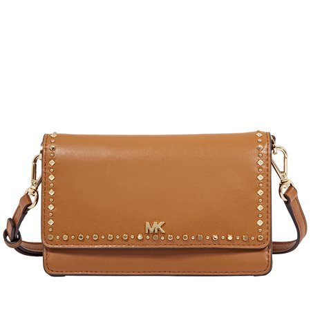 Michael Kors Studded Leather Phone Cross-Body Bag- Acorn