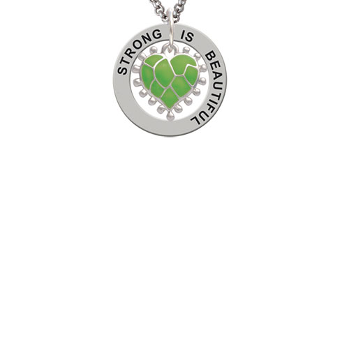 Lime Green Giraffe Print Heart Strong Is Beautiful Affirmation Ring Necklace