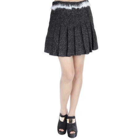Anna-Kaci S/M Fit Black Accordion Pleats White Marabou Feathers Trim Mini Skirt