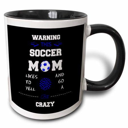 3dRose Warning this soccer mom likes to go crazy blue and black, Two Tone Black Mug, 11oz