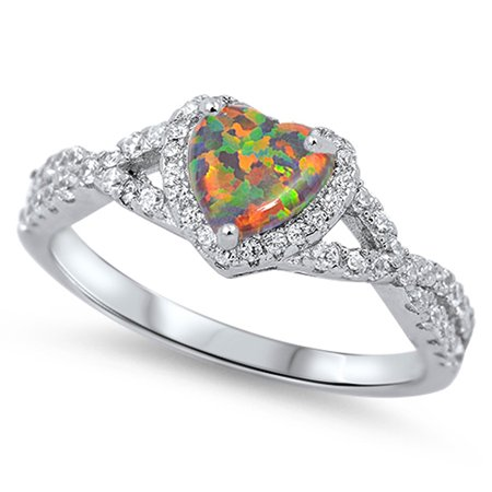 Mystic Simulated Opal Twisted Double Shank Heart Ring Sterling Silver Band Size 8