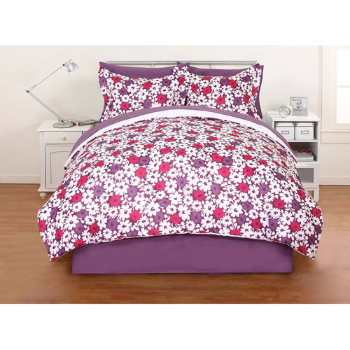 Mainstays Bed-in-a-Bag Bedding Set, Purple Floral